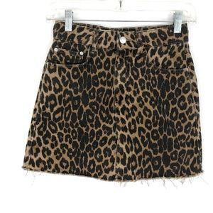 Zara Leopard print mini skirt denim straight jean